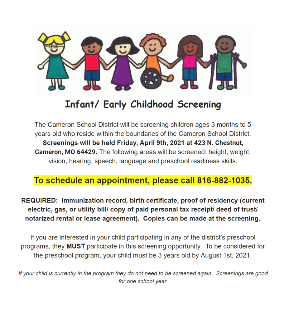 Infant/Early Childhood Screening