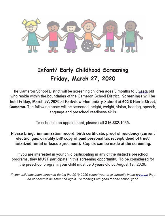 Preschool Screening Information for 2020-2021