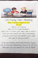 Title I Fall Parent Meeting