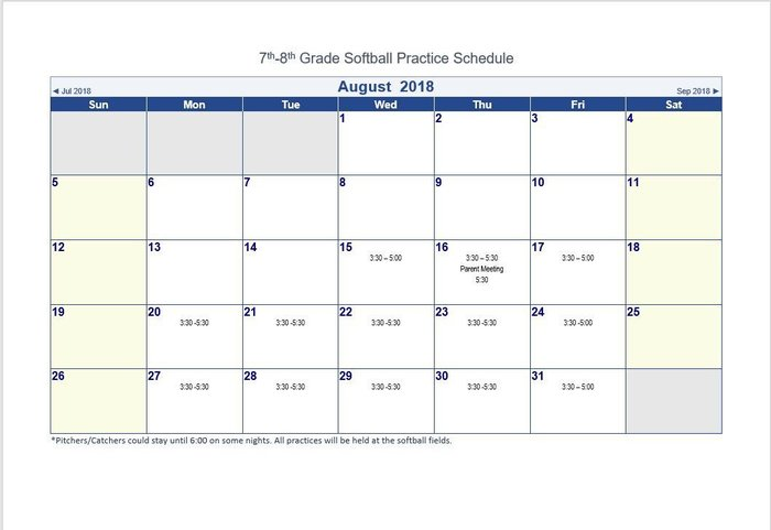 7th-8th Grade Softball Practice Schedule