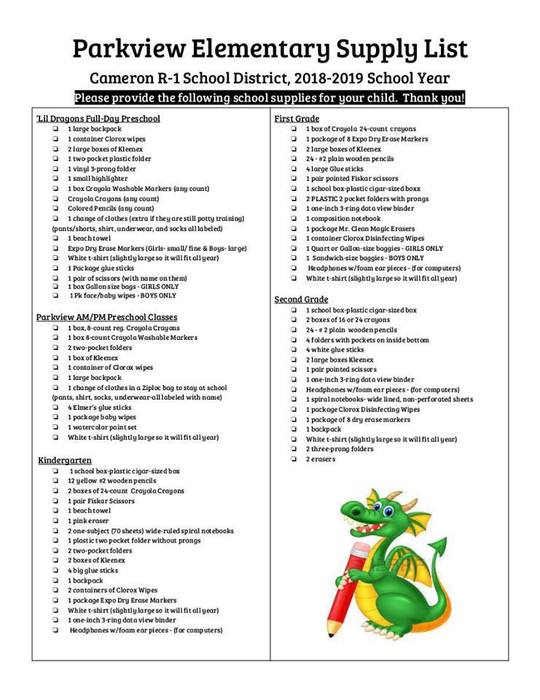 2018-2019 Parkview Supply List