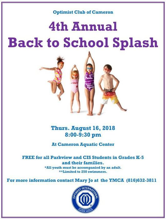 4th Annual Back to School Splash Aug 16, 2018