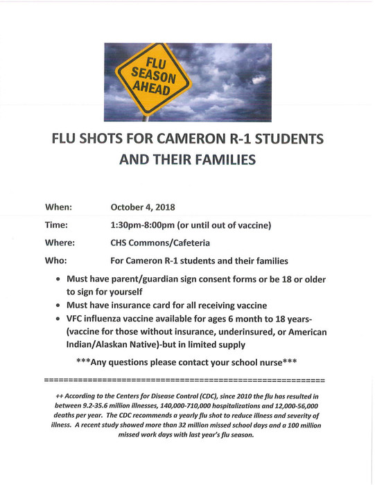 Flu Shots are available on Oct 4 from 1:30 to 8 pm