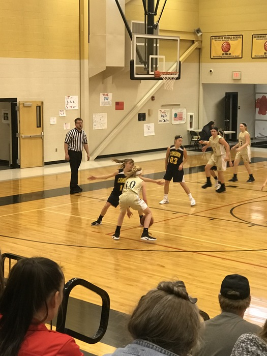 7th Grade Girls Basketball on defense