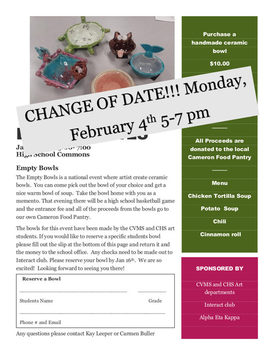 Empty Bowls moved to February 4th.