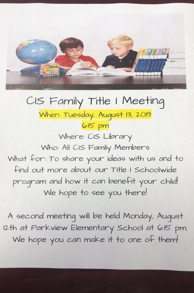 Please join us Tuesday, August 13 at 6:15 p.m. for our Fall Title I Parent Meeting. We hope to see you there!