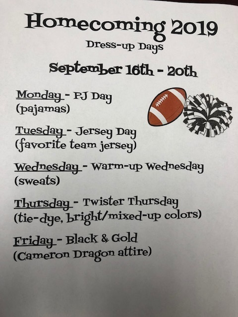 2019 Homecoming Dress-up Days