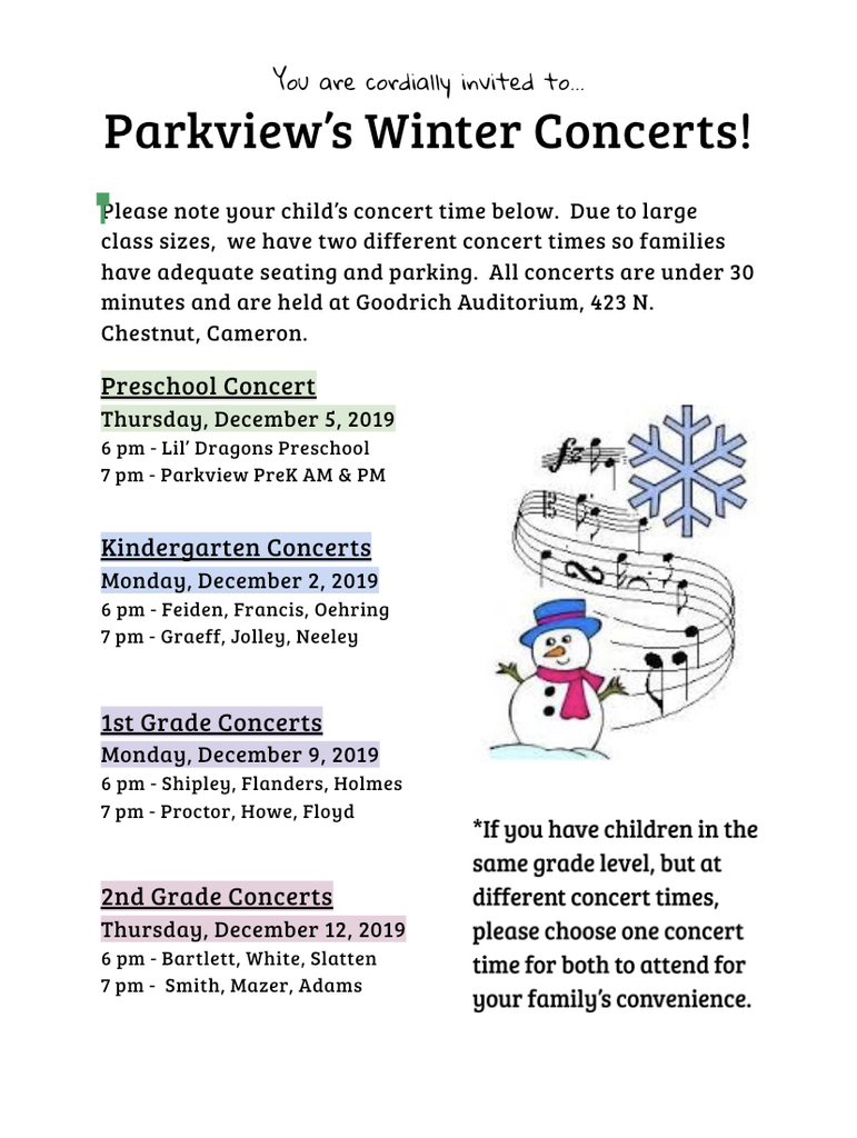 Parkview's Winter Music Concerts
