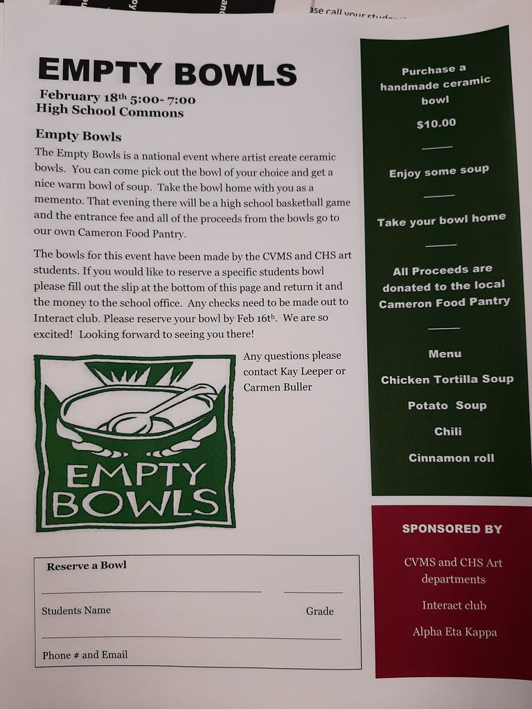 Empty Bowls Feb. 18 5-7 pm CHS Commons