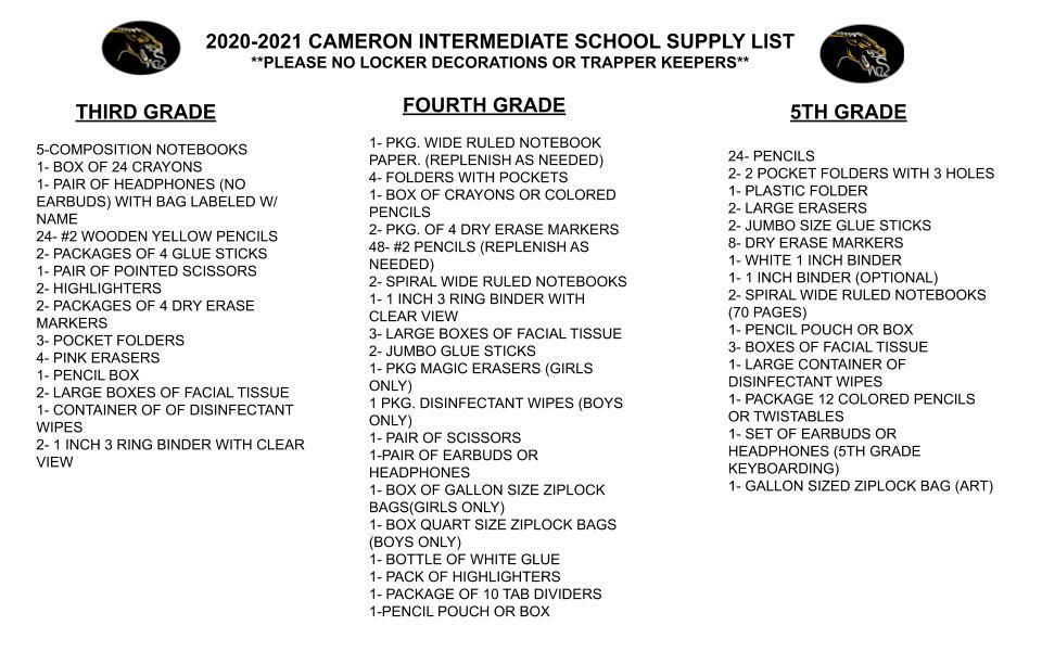 CIS Supply List