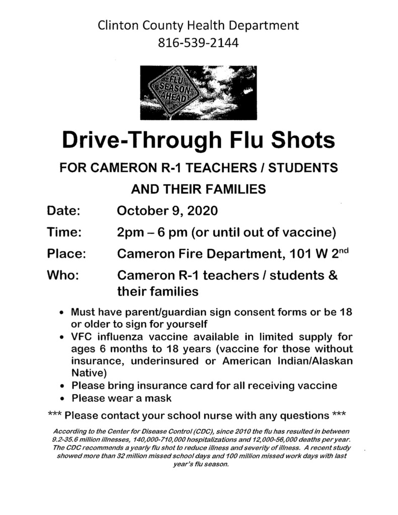 October 9 2 pm - 6pm Flu Shots at Fire Department
